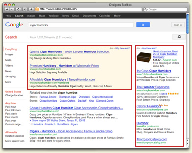 Example of Paid Search Results via Search Engine Marketing